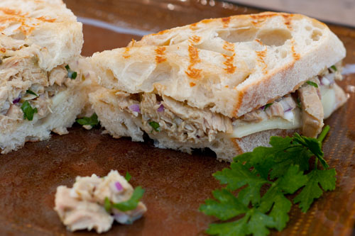 A wonderfully tasty tuna melt made with Island Trollers Albacore with Capers